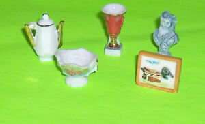 Lot of Five Porcelain Miniatures or  Dollhouse Accessory Items
