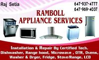 RAMBOLL APPLIANCE SERVICE feels proud to offer appliance repairs