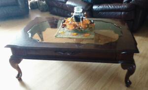 Cherry Wood glass top coffee table