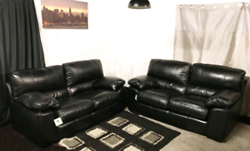 ::; New/ Ex display dfs real leather black 2+2 seaters sofas