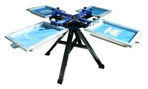 New Model 4 Color 4 Station Screen Printing Machine Economy Silk Screen Press 006365