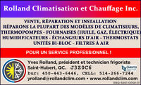 SERVICE / REPARATION CHAUFFAGE/CLIMATISATION/THERMOPOMPE