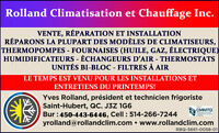 SERVICE CHAUFFAGE/CLIMATISATION/THERMOPOMPE