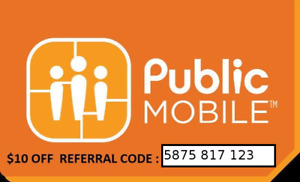 $10 Credit for New Public Mobile Customers- Referral Code