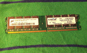 Two RAM memory sticks: 512MB by Crucial, DDR, 333Mhz, CL2.5