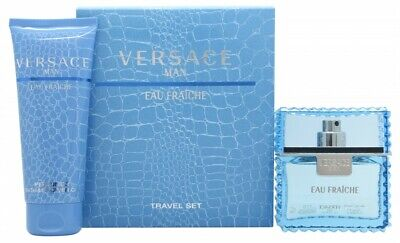VERSACE MAN EAU FRAICHE GIFT SET 50ML EDT + 100ML BATH & SHOWER GEL - MEN'S. NEW