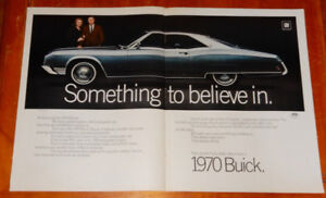 LARGE 1970 BUICK RIVIERA VINTAGE GM AD - ANONCE RETRO 70S