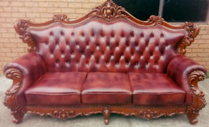 High Quality Luxury Mahogany Wood 3 Seater Leather Sofa Southbank Melbourne City Preview
