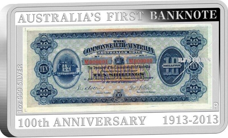 100TH ANNIVERSARY OF AUSTRALIA'S FIRST BANKNOTE 1OZ SILVER PROOF COIN AND STAMP SET