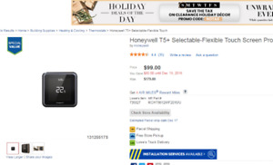 Honeywell T5 Touch Screen Programmable Thermostat for $70