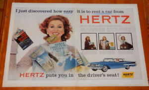 BIG 1960 HERTZ RENT A CAR AD WITH CHEVY IMPALA / VINTAGE