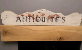 French Antiquites Antique Wooden Sign Hand Painted