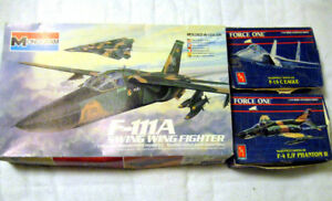 THREE MODEL AIRCRAFT KITS BIG F111A SMALL F-15C EAGLE F4 PHANTOM