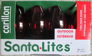 Christmas Lights 4 Bulbs (Red OR Green) 7 Watt / C-9