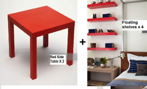 New Floating Wall Storage Shelves x 4 +Square Side table x 2 RED