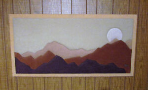 Vintage Fabric Mosaic Wall Art: Mountain-Sunset Soft Art by Stef Kitchener / Waterloo Kitchener Area image 1