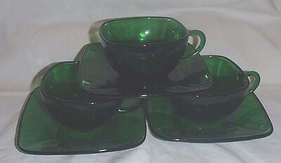Vintage Forest Green Charm, (3) Cups & (3) Saucers, 1950's, Anchor Hocking