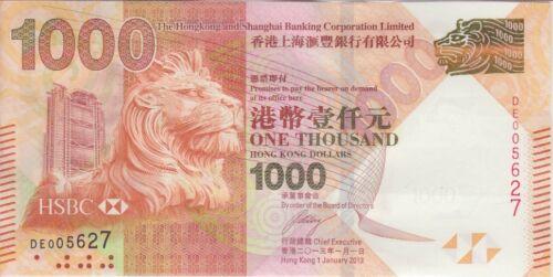Hong Kong Banknote P216 1,000 Dollars HSBC 1.1.2013,  UNC
