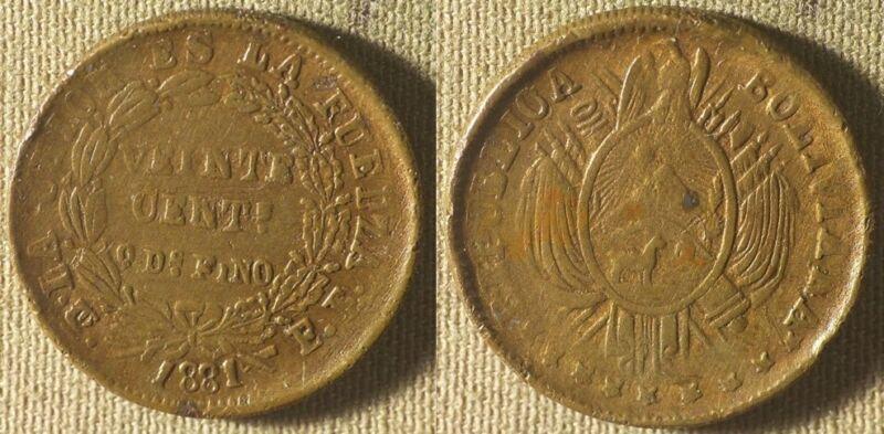 Bolivia : 1881 20 Ct Error Struck On Brass Planchet Instead Of Silver   IR8298