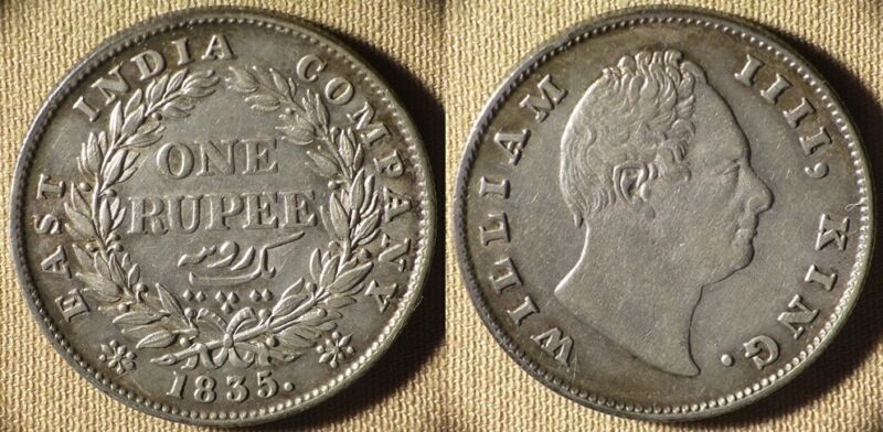 East India Company : 1835  1 Rupee XF Nice  #450.2    IR6326