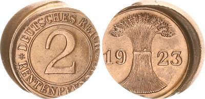 Weimar 2 Renten Pfennig 1923 D Fehlprägung: 25% dezentriert vz-prfr.