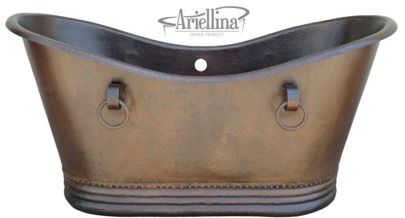 "Ariellina Double Slipper Soaking Hammered Copper Bathtub Lifetime Warranty 60"""