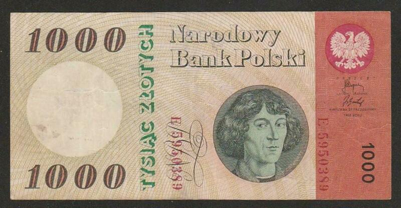 1965 POLAND 1,000 ZLOYTCH NOTE