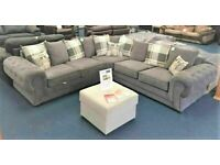BEST SALES ON VERONA CHESTERFIELD GREY PLUSH FABRIC 3+2 SOFA SUITE AND CORNER UNIT ON SALE!!