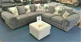 💥💯BRAND NEW VERONA GREY FABRIC CORNER SOFA SUITE / 3+2 SEATER SETTEE AVAILABLE FOR DELIVERY