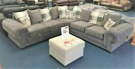 CLOSEOUT SALE ON VERONA CHESTERFIELD GREY PLUSH FABRIC 3+2 SOFA SUITE AND CORNER UNIT ON SALE!!