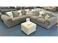 BRAND NEW VERONA 3 AND 2 SEATER SOFA SET, DUAL ARM CORNER GREY SUITES IN STOCK NOW