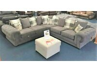 💯INTRODUCTION OFFER CHESTERFIELD GREY PLUSH FABRIC 3+2 SOFA SUITE AND CORNER UNIT ON SALE!!