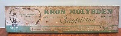 Vintage kron molybden Swedish Hack Saw Tool Blades Rare Tin Litho Metal Box
