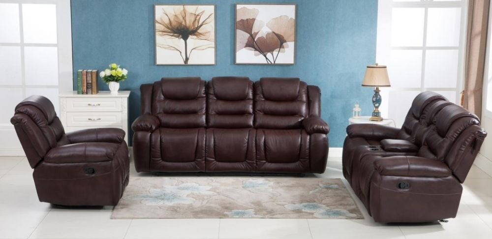 Candy Luxury Bonded Leather Recliner Sofa Set 3 2 1