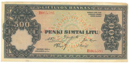 LITHUANIA 500 Litu (1924) Litas banknote Series B