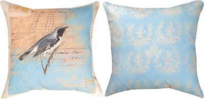 "Aviary Blue Bird Indoor/Outdoor 18"" Toss Pillow ~ Climaweave"