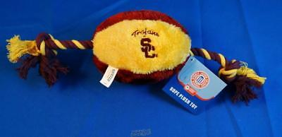 University Southern California USC Soft Plush Football Squeaky Rope Dog Chew Toy