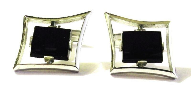 SCULPURAL Vtg Modernist Sterling Onyx Rhomboid Cufflinks Geometric MCM Fab Lines