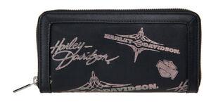 Harley-Davidson Women's Silver Flash Bar & Shield Leather Wallet HDWWA11073-BLK