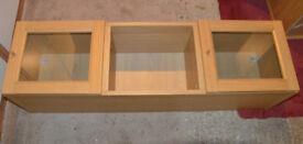 Two Ikea Billy Wall Cupboards with Glass Doors in Oak