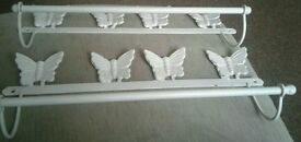 2 cast iron butterfly towel rails