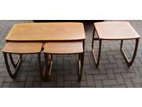 Vintage Retro Mid Century Parker Knoll Teak Coffee Table + 3 Side Tables Nest