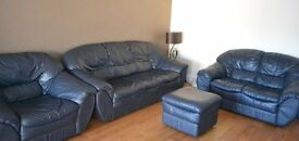 3 piece leather sofa set in Blue