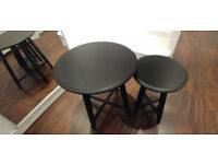 IKEA BLACK KRAGSTA 2 SIDE TABLES / NEST OF TABLES