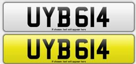 UYB 614 Private Number Plate For Sale