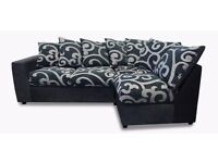 Samantha Swirl Sofa -- Corner Sofa - 2x Chairs - 1x Foot Stool.