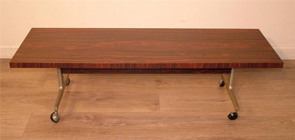 LONG WIDE BESPOKE RETRO ROSEWOOD EFECT 1970/80's OBLONG COFFEE TABLE TROLLEY