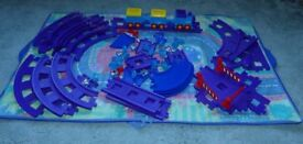 Happyland electric train, track, and playmat/bag