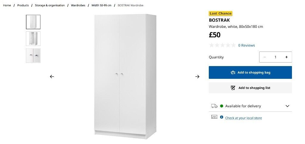 White Ikea Wardrobe Bostrak In Excellent Condition In West Hampstead London Gumtree