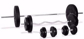 WEIGHT SET: Barbell EZ Curl Bar & Dumbbell set Inc Cast Iron Weight Plates 43KG-72KG set: NEW